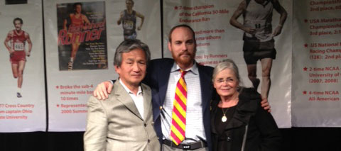 Stephen Tamaribuchi, Michael Stember and his mother at Sacramento Running Association's Awards Banquet.